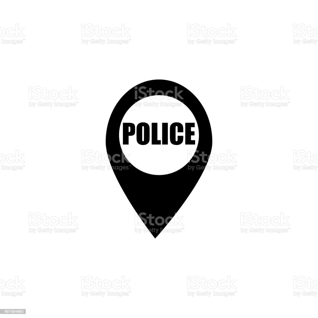 Dot On The Map Of The Policeman Icon Element Of Police Profession