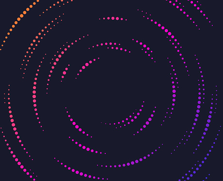 Dots in concentric circle abstract lines background.