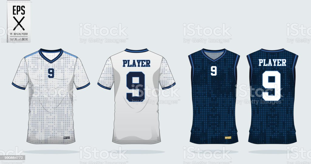 Dot Square Pattern Sport Shirt Design Template For Soccer Jersey