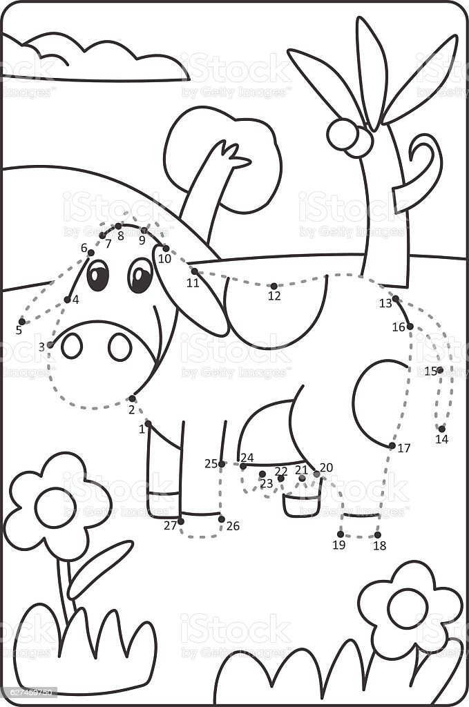 Dot To Dot Drawing Cow Easy Drawing Cow For Children Royalty Free Dot To