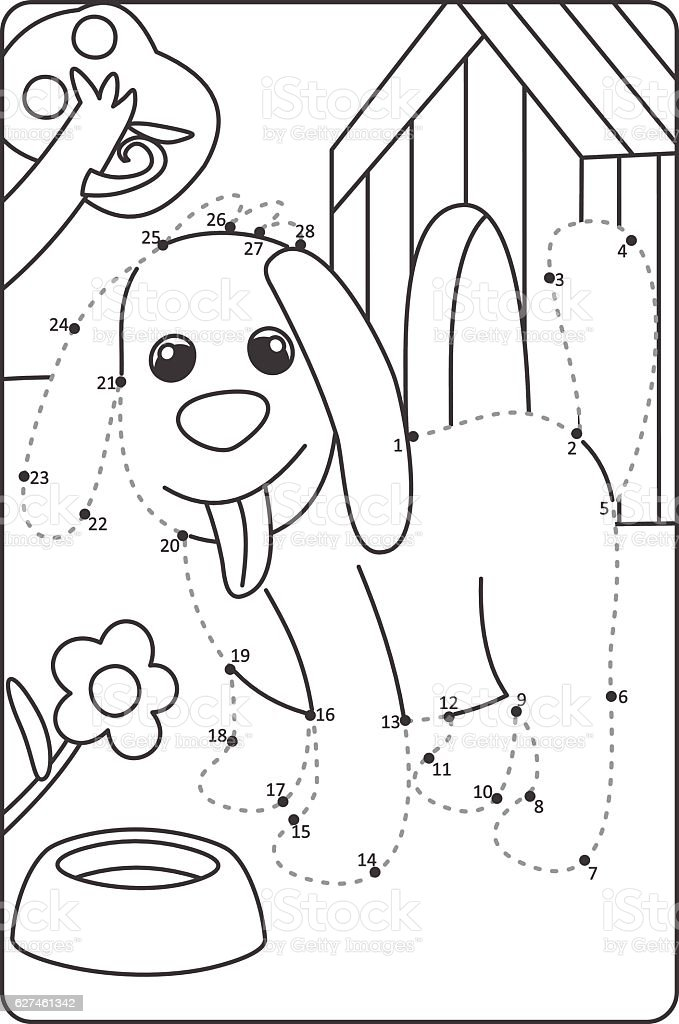 Dot To Dot Drawing Dog Easy Drawing Dog For Children Stock Vector