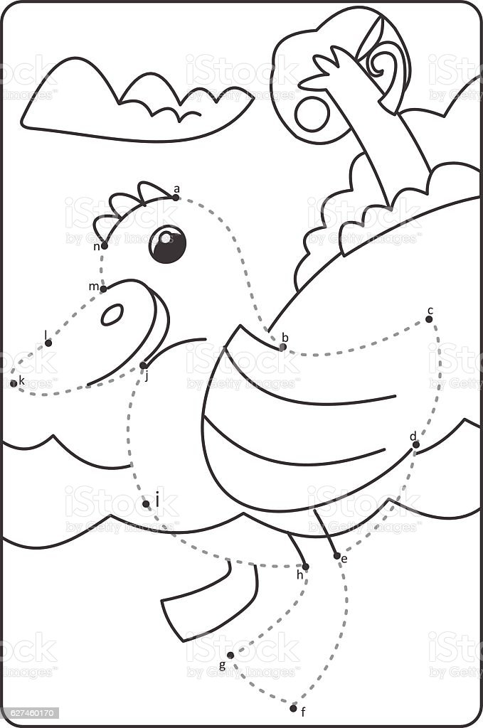 Dot To Dot Drawing Duck Easy Drawing Duck For Children Stock Vector