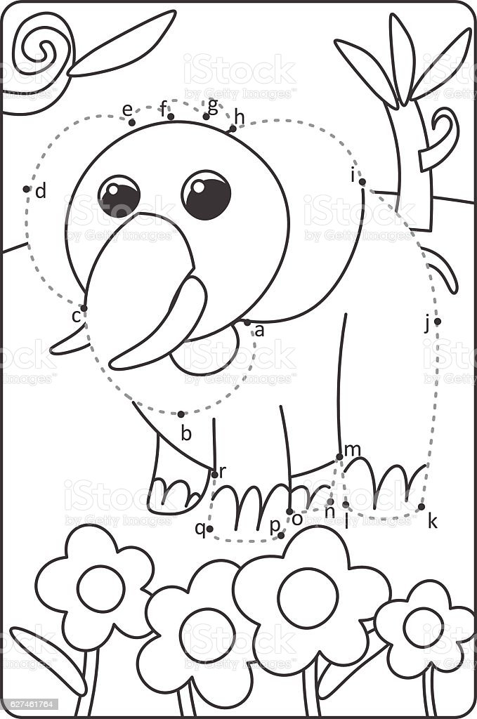 Dot To Dot Drawing Elephant Easy Drawing Elephant For Children Stock