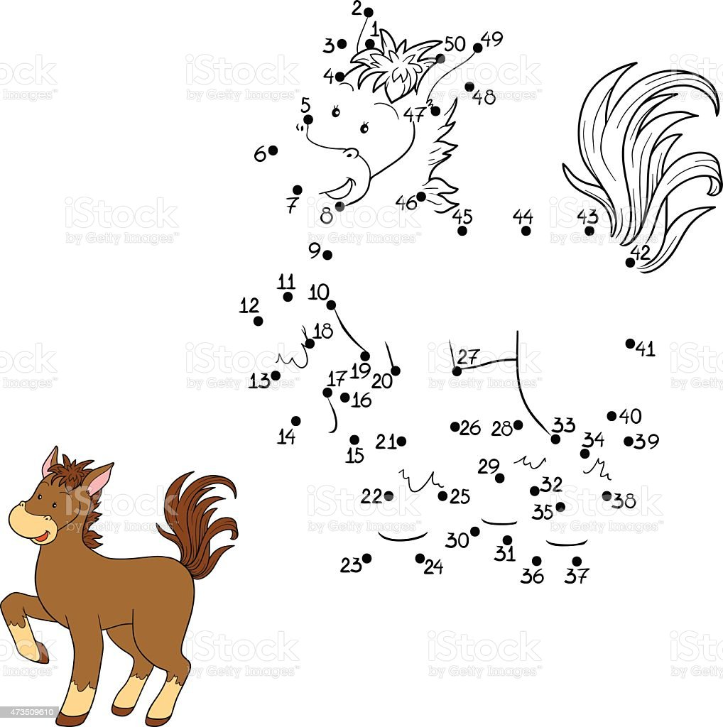 Dot to dot drawing game of a brown horse vector art illustration