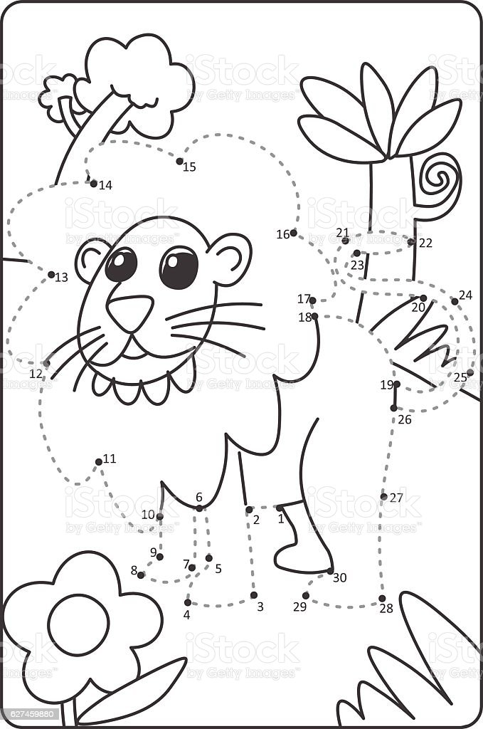 Dot To Dot Drawing Lion Easy Drawing Lion For Children Stock Vector