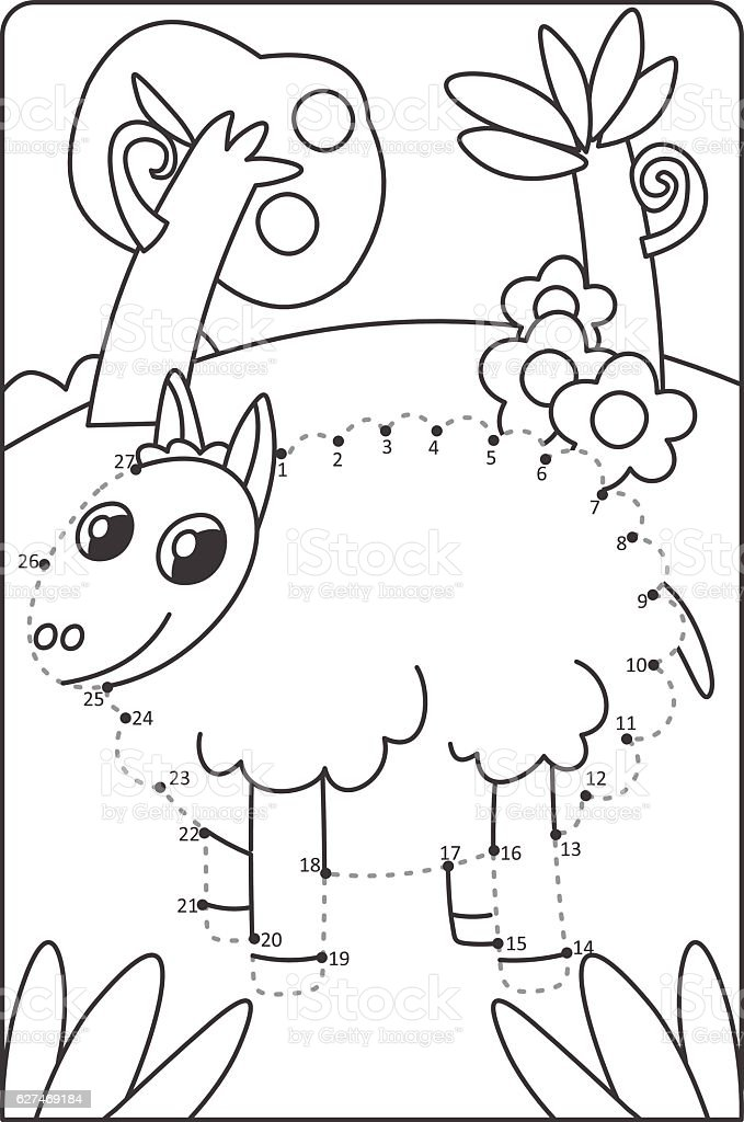Dot To Dot Drawing Sheep Easy Drawing Sheep For Children Stock