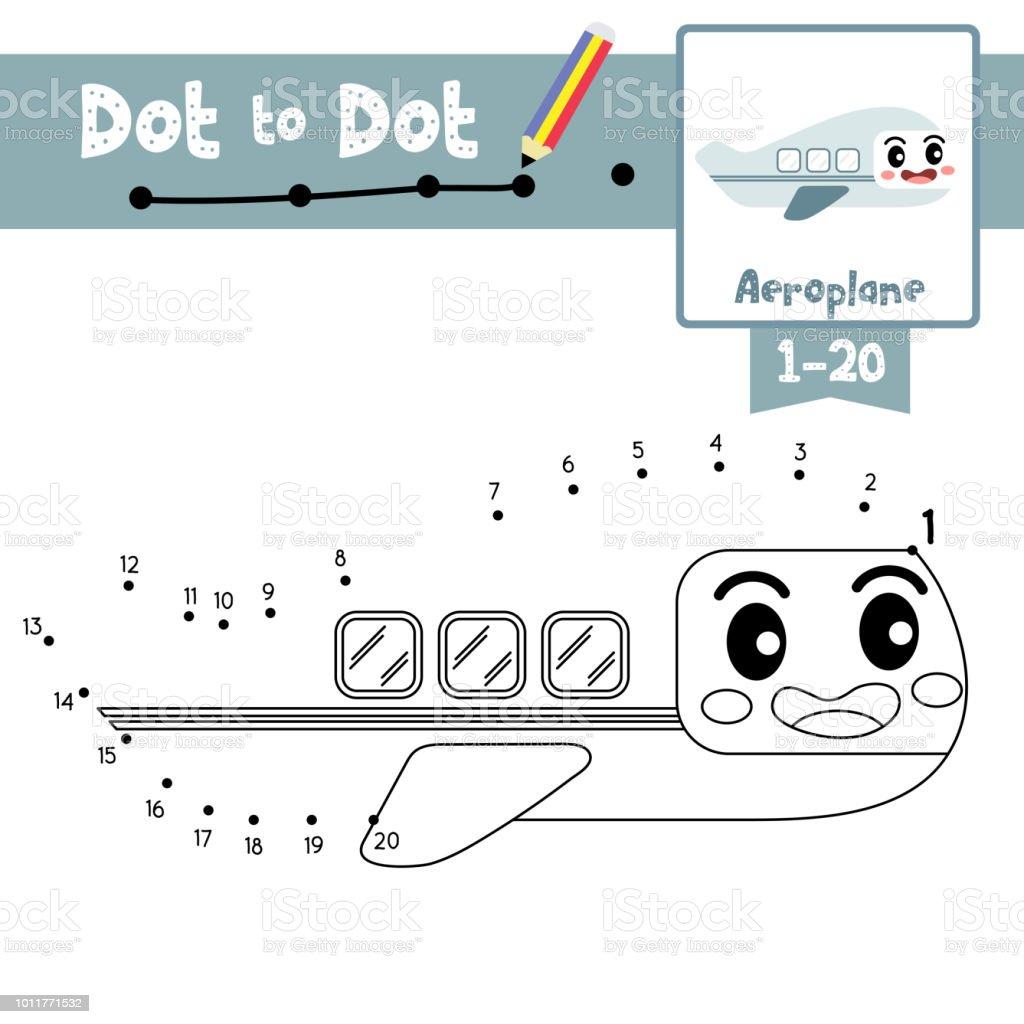 Nokta Nokta Eğitici Bir Oyun Ve Boyama Kitabı Uçak çizgi Film