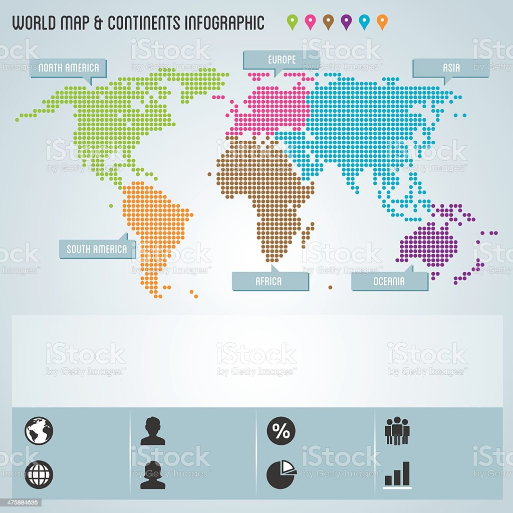 Dot world map continents infographic stock vector art 475884636 dot world map continents infographic royalty free stock vector art gumiabroncs Images