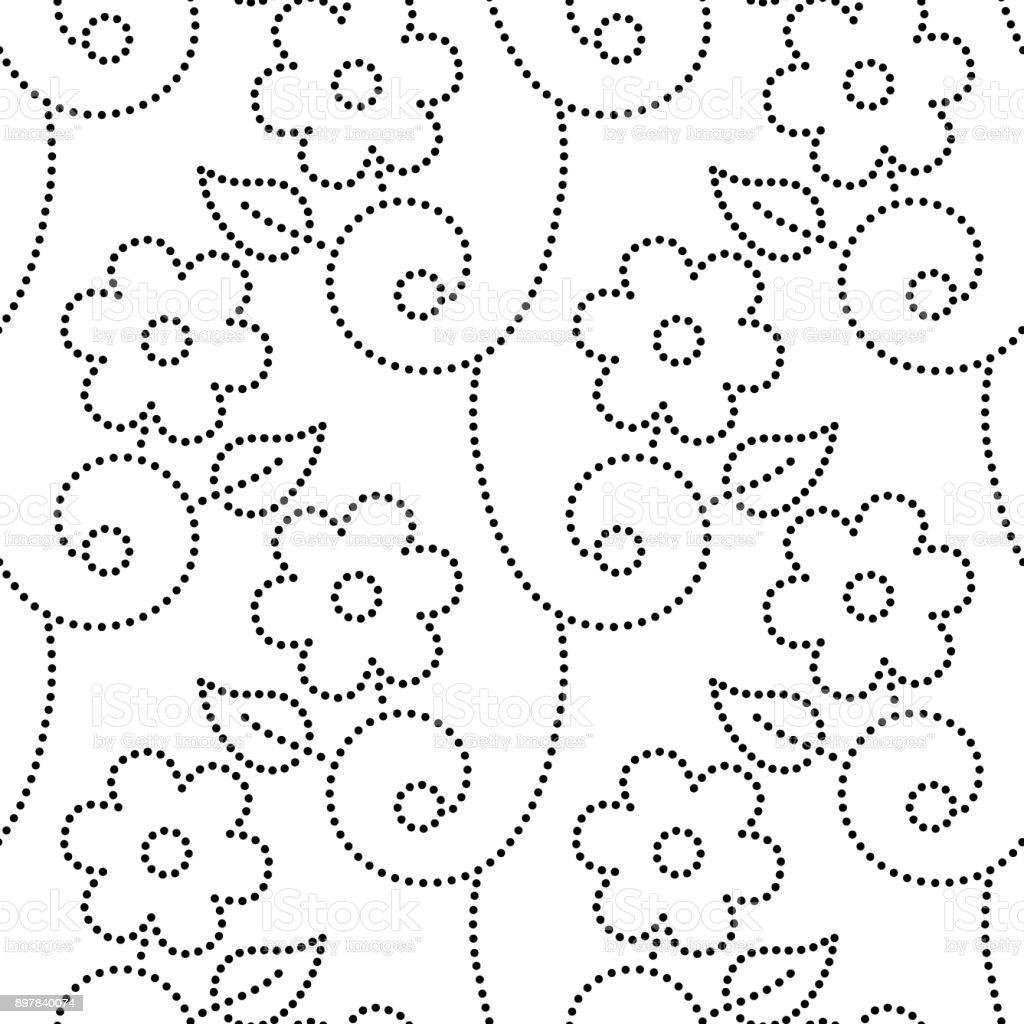 Ilustración De Puntillo Flores Hojas Y Enredaderas De