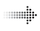 dots arrow icon on white background. dots arrow sign. black dots arrow symbol.