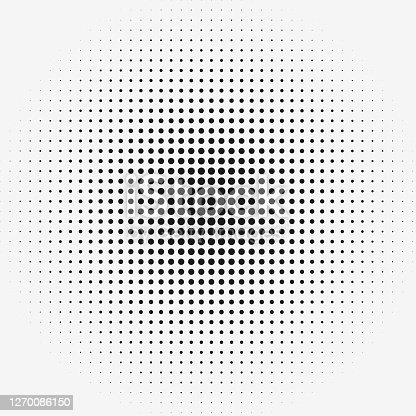 istock Dots in matrix grid pattern with radial size gradient. Row and columns pattern. 1270086150