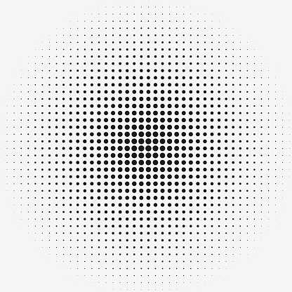 Dots in matrix grid pattern with radial size gradient. Row and columns pattern.