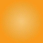Pop Art Background, Dots on Yellow Background,Halftone Background, Retro Style, Vector Illustration