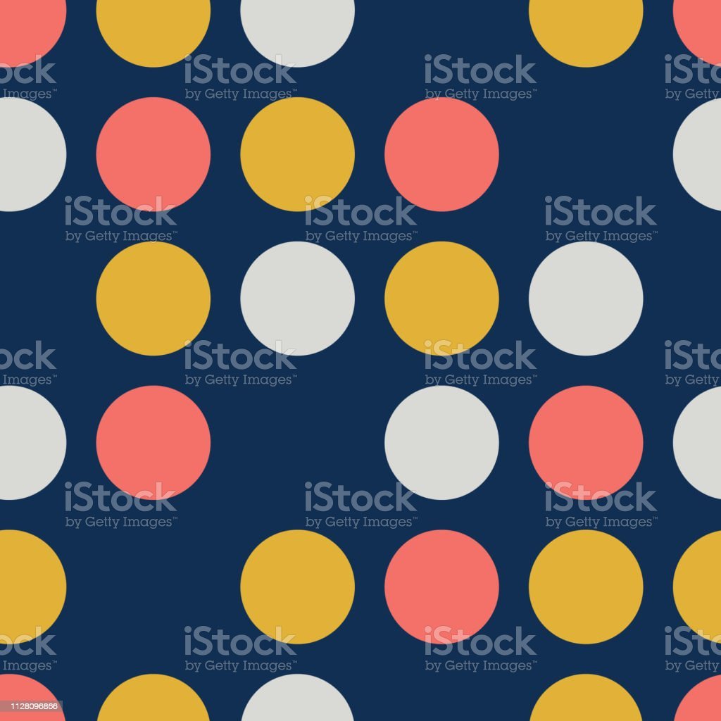 Dots Seamless Vector Pattern. Skipped circles blue, coral, yellow, gray. Feminine polka dots background for Trendy Home Decor, Feminine Fashion Prints, Cute Wallpaper, Girl Apparel Textiles, Packaging vector art illustration