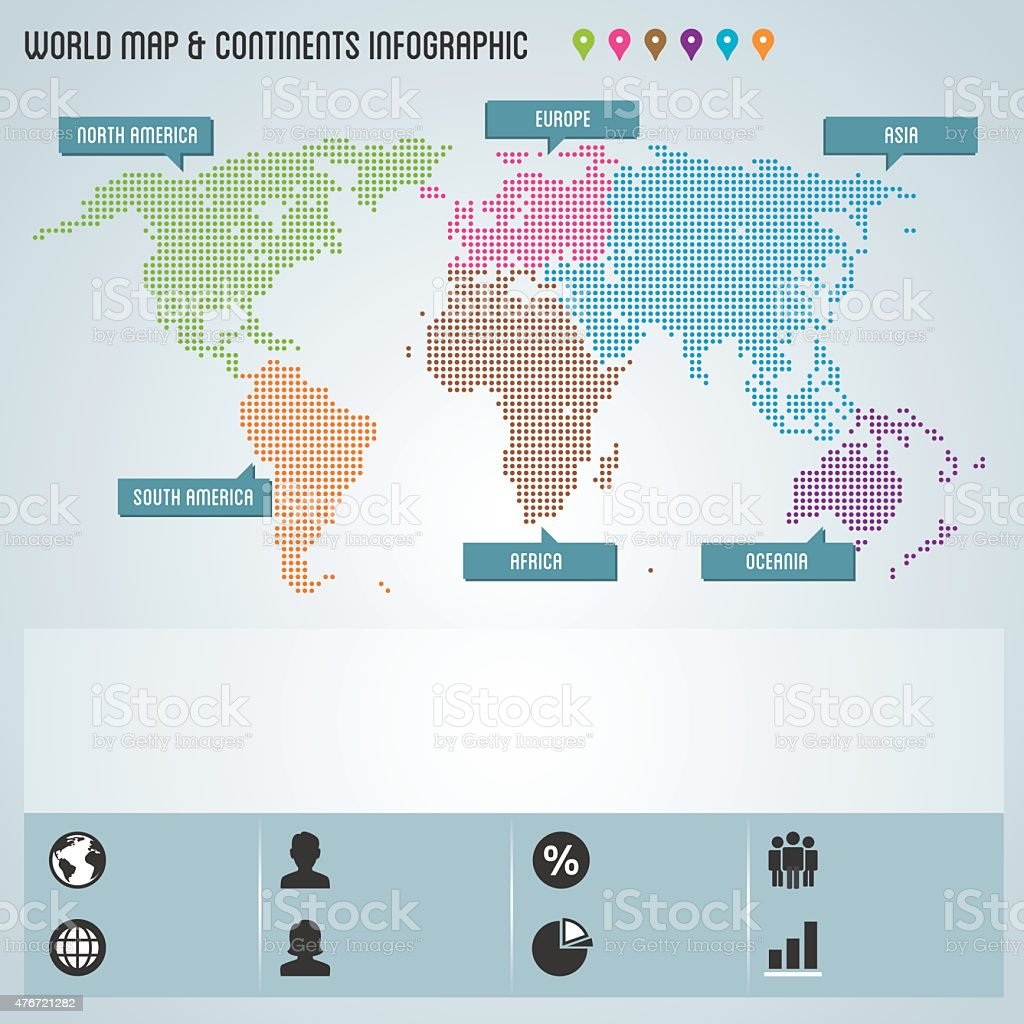 Dots World Map Continents Infographic Stock Vector Art & More Images ...