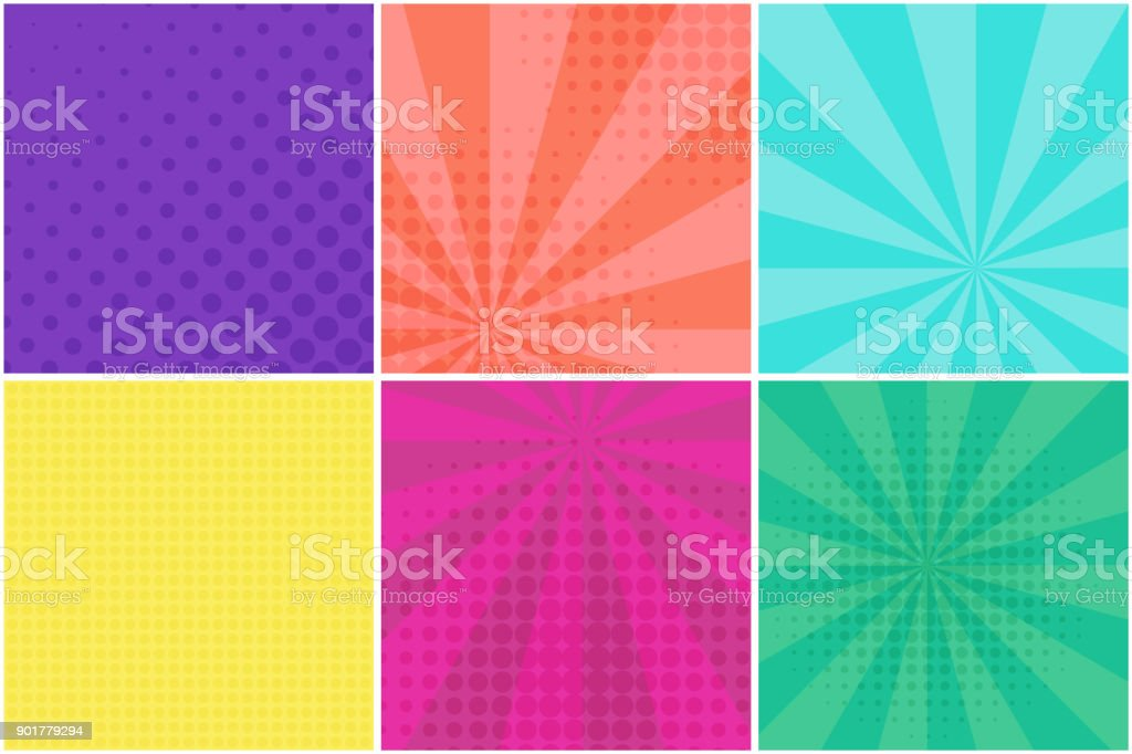 Dotted and striped backgrounds for retro bubbles