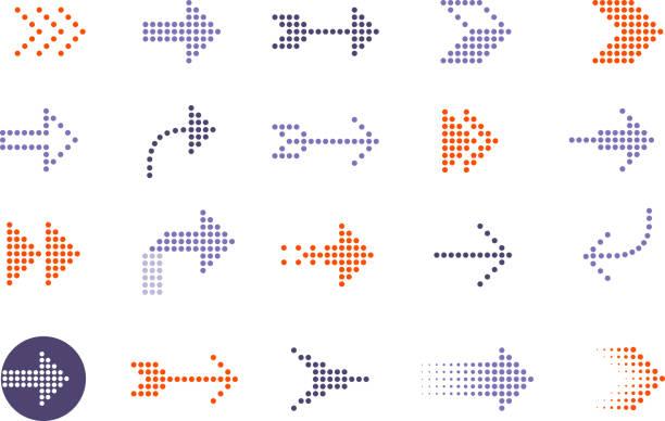 strzałki kropkowane - ruch stock illustrations
