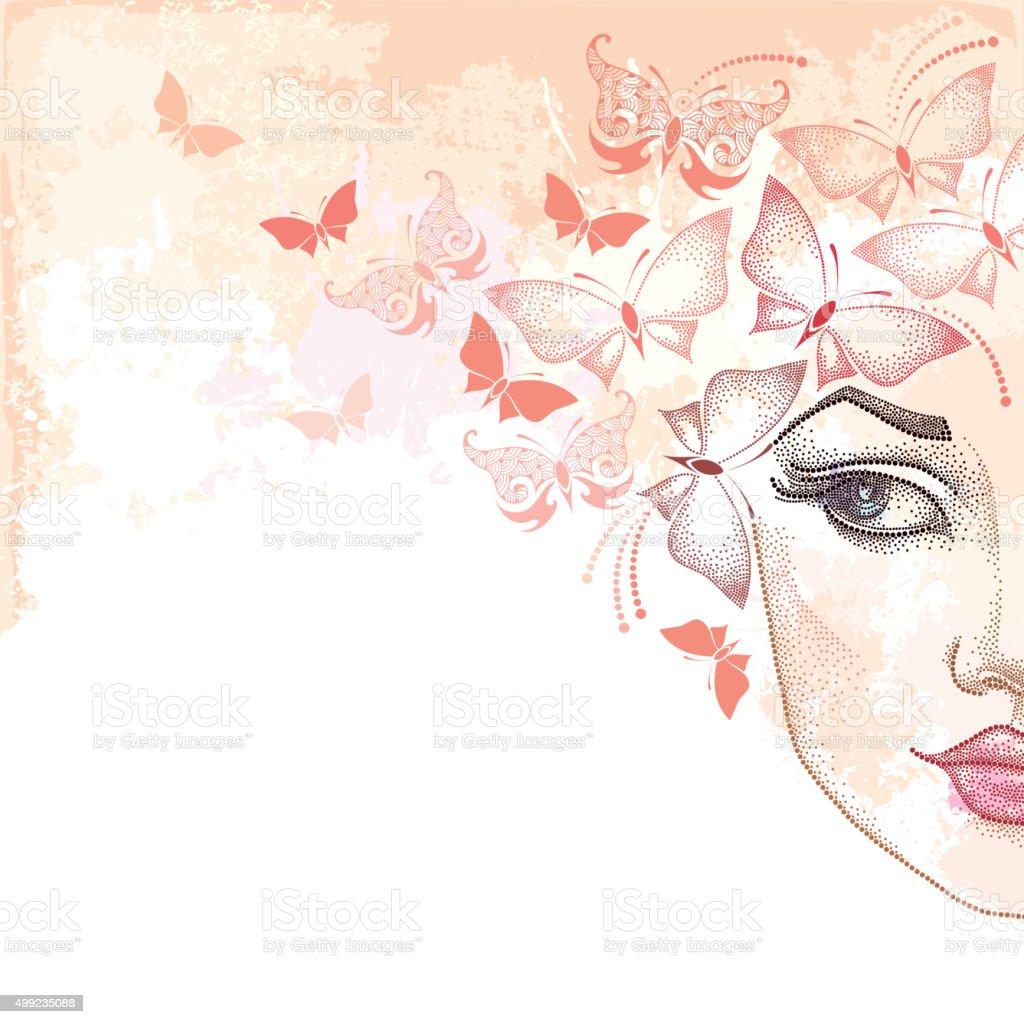 Bellissima Donna Davanti A Pois Su Sfondo Rosa Con Farfalle