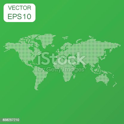 Dotted Blank World Map Icon Business Concept World Map Pictogram - Blank world map green