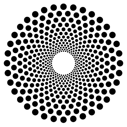 Dotted circular shape, element. Abstract motif with circles
