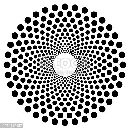istock Dotted circular shape, element. Abstract motif with circles 1254112437