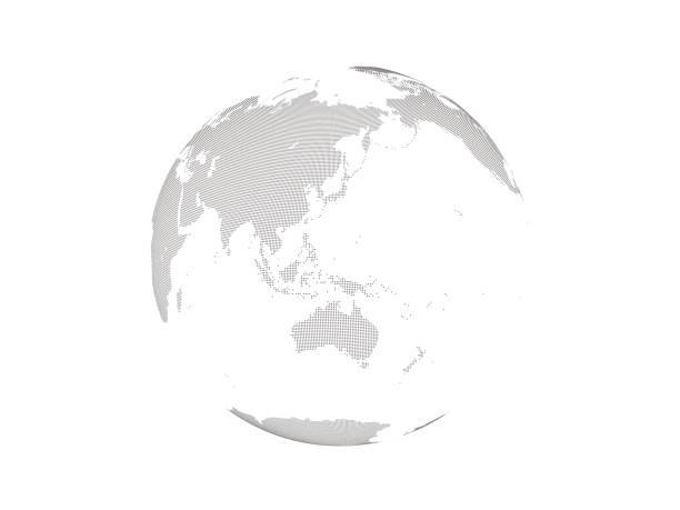 ドット付きダークグローブ地球 4 - 地球 日本点のイラスト素材/クリップアート素材/マンガ素材/アイコン素材