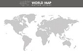 Dotted gray world map. Small dot. Vector illustration