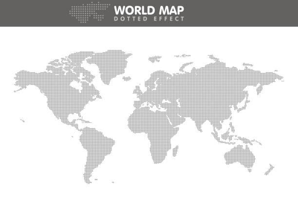 点線の灰色の世界地図。小さなドット。ベクトル図 - 世界地図点のイラスト素材/クリップアート素材/マンガ素材/アイコン素材