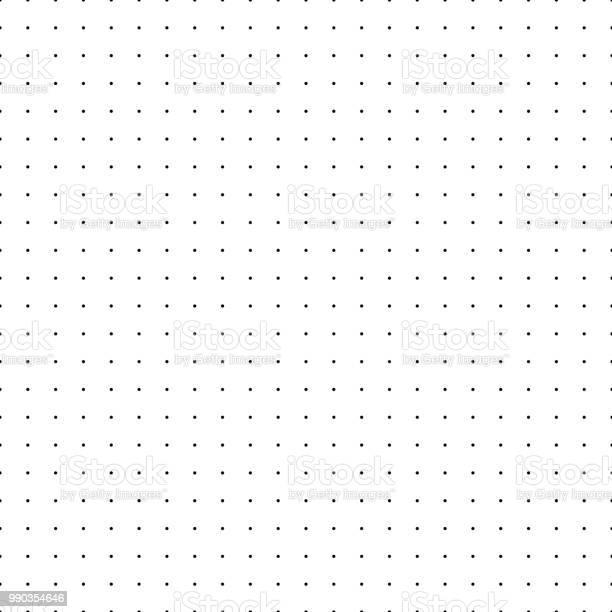 Dotted Grid Seamless Pattern With Dots Simplified Matrix Vector Refill - Arte vetorial de stock e mais imagens de Abstrato