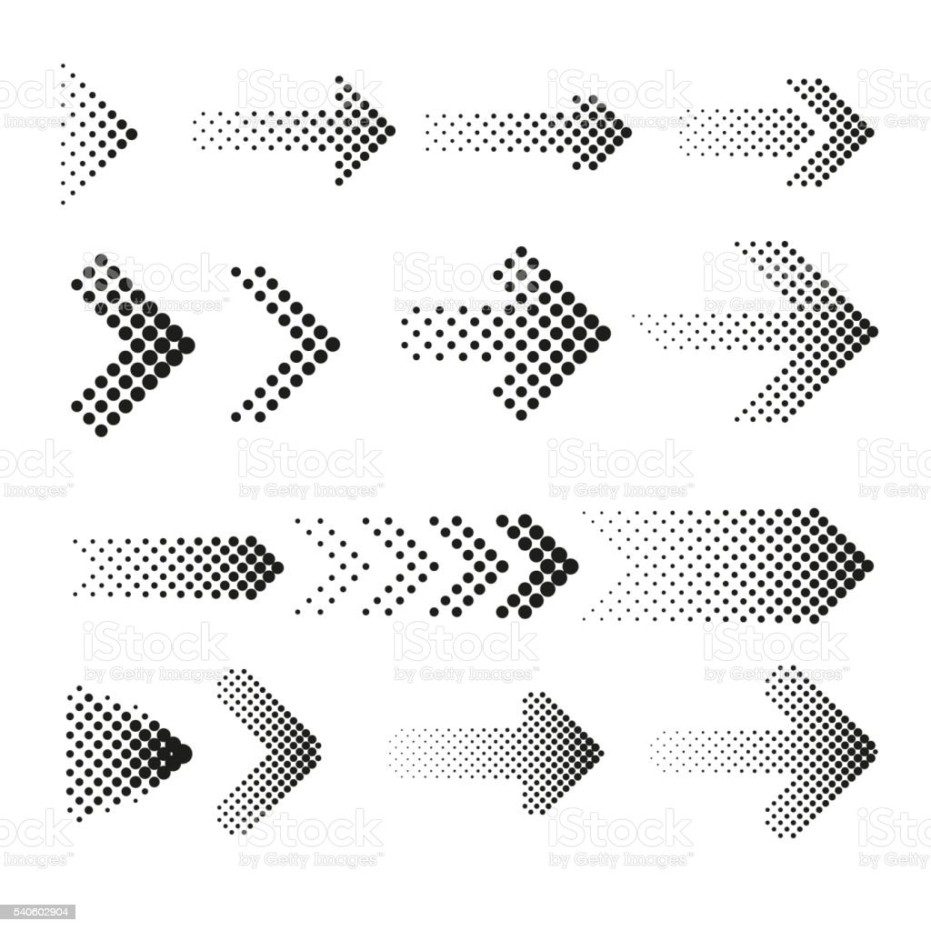 Dotted halftone arrows vector set - ilustración de arte vectorial