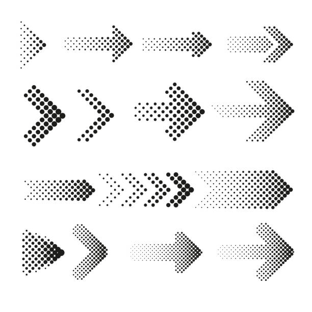 Dotted halftone arrows vector set vector art illustration