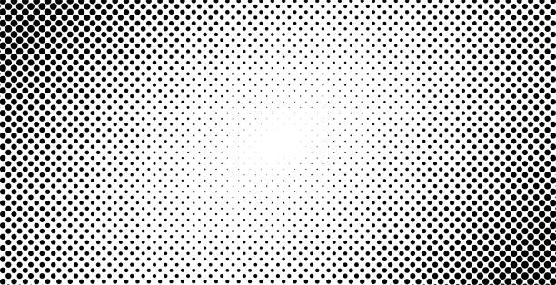 Dotted halftone background or pop art gradient vector illustration, horizontal black and white background with monochrome dots texture as retro effect vector art illustration