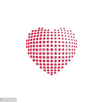 istock Dotted heart shape vector illustration isolated 537534950
