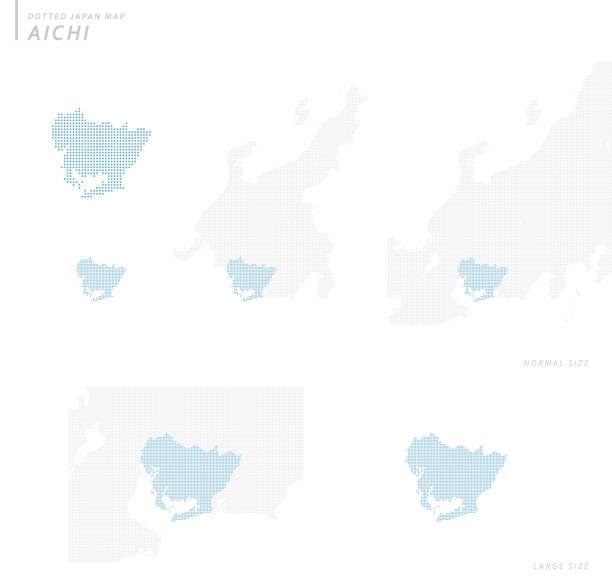日本の点線地図セット 愛知 - トヨタ点のイラスト素材/クリップアート素材/マンガ素材/アイコン素材