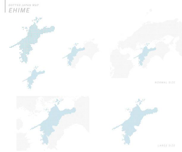 虛線日本地圖集, ehime - hiroshima 幅插畫檔、美工圖案、卡通及圖標