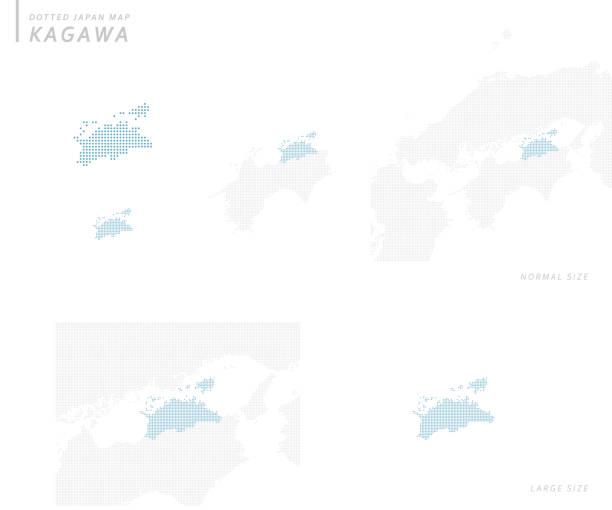 虛線日本地圖集, 香川 - hiroshima 幅插畫檔、美工圖案、卡通及圖標