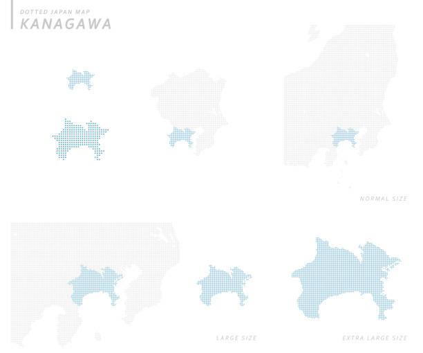 점선 일본 지도 세트, 가나가와 - 가나가와 stock illustrations