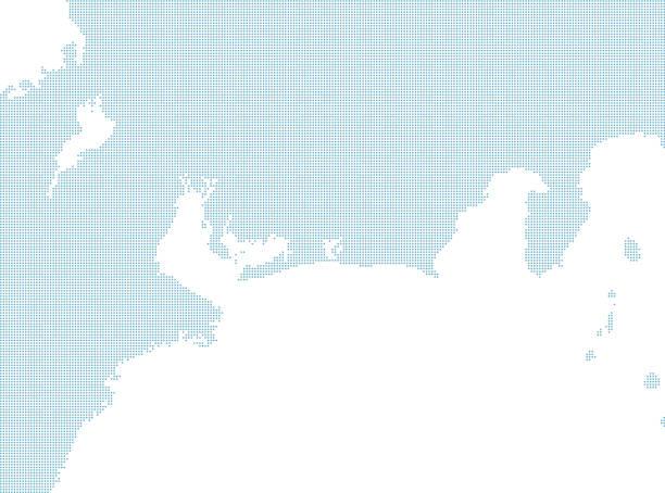 日本の点線マップセット、東海地方 - トヨタ点のイラスト素材/クリップアート素材/マンガ素材/アイコン素材