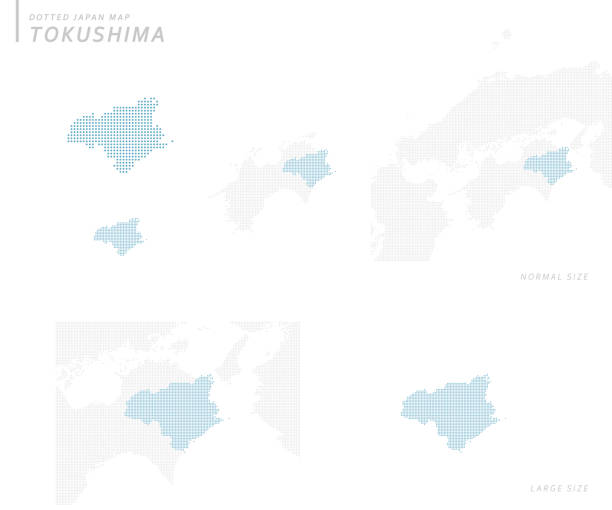 虛線日本地圖集,德島 - hiroshima 幅插畫檔、美工圖案、卡通及圖標