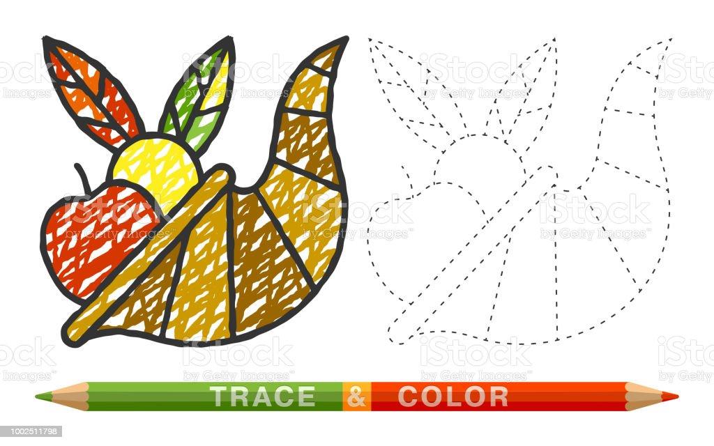 Ilustración de Línea De Puntos Y Colorear Crayon Cornucopia El Icono ...