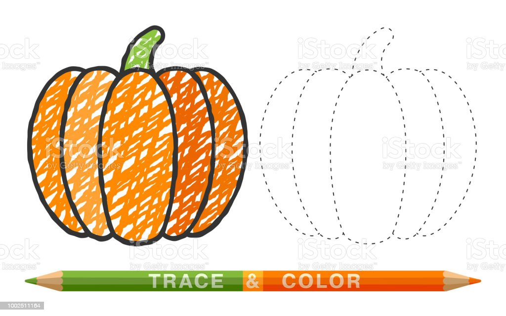 Dotted Line And Coloring Crayon Pumpkin Stock Illustration ...