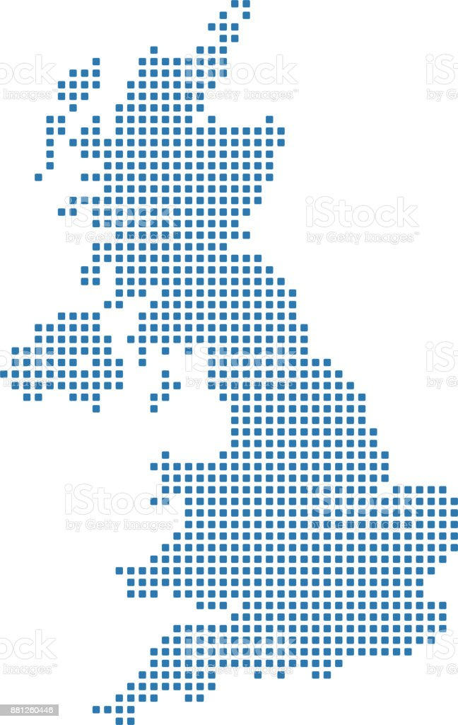 UK dotted map. England map dots. United Kingdom map dots. Highly detailed pixelated Great Britain map vector outline illustration in blue background vector art illustration