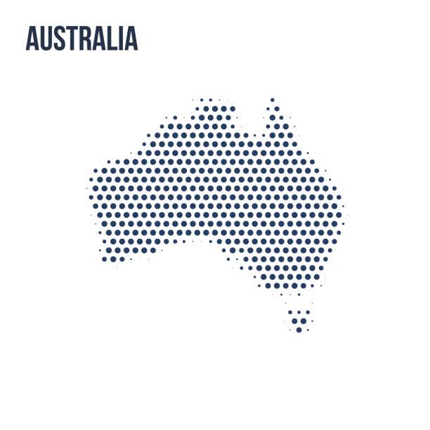 bildbanksillustrationer, clip art samt tecknat material och ikoner med prickade karta över australien isolerad på vit bakgrund. - australia