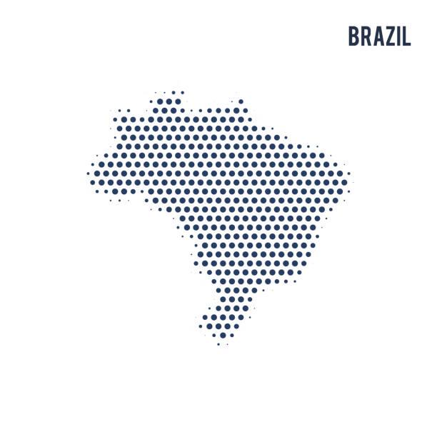 ilustrações, clipart, desenhos animados e ícones de mapa pontilhado de brasil isolado no fundo branco. - brazil