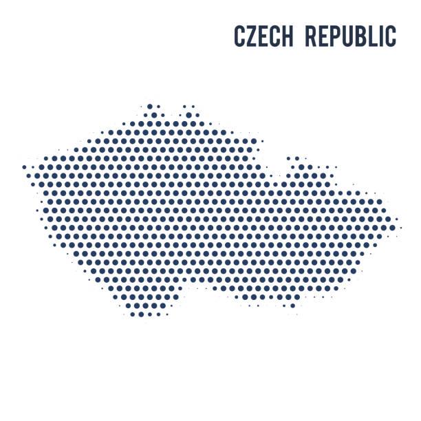 점선된 흰색 배경에 고립 된 체코 공화국의 지도. - 체코 stock illustrations