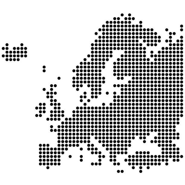 ilustrações de stock, clip art, desenhos animados e ícones de dotted map of europe - europe points