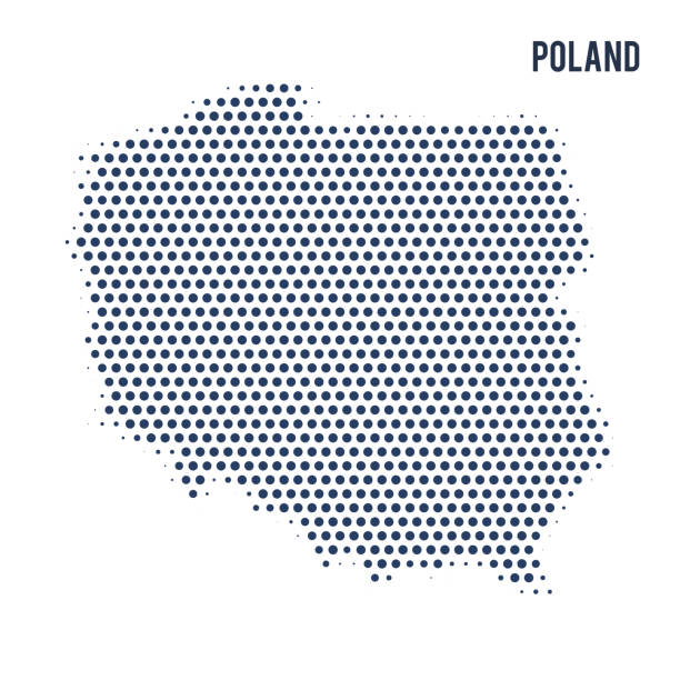 dotted map of poland isolated on white background. - polska stock illustrations