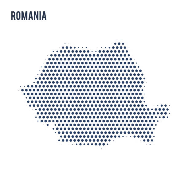 Dotted map of Romania isolated on white background. Dotted map of Romania isolated on white background. Vector illustration. romania stock illustrations