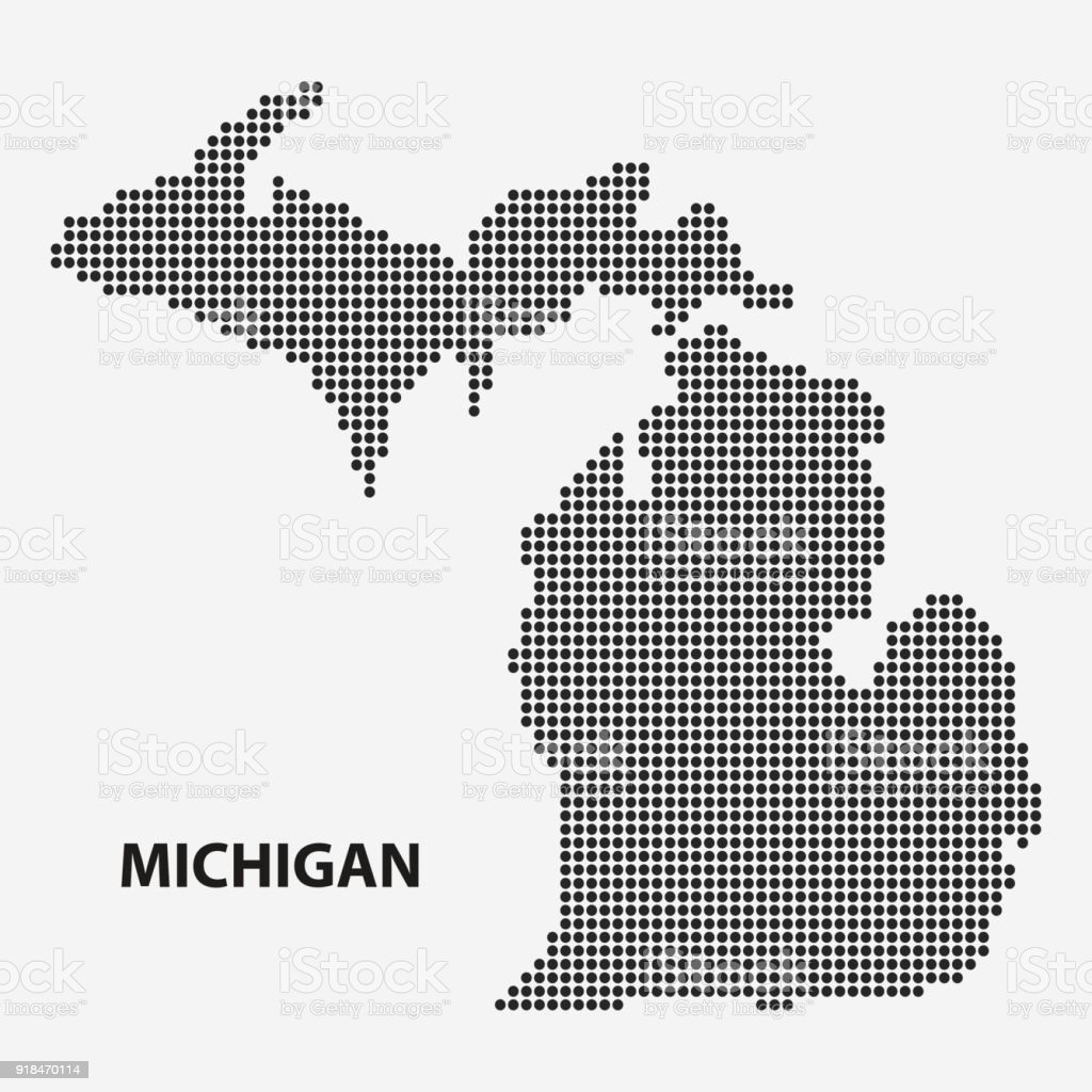 Dotted Map Of The State Michigan Vector Illustration Stock Vector ...