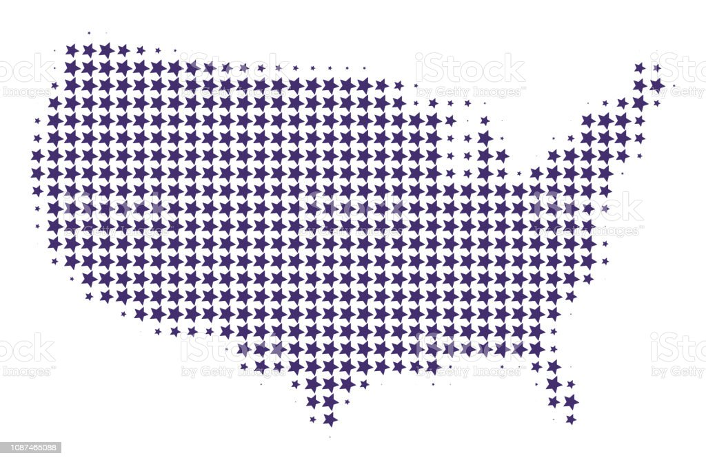 Dotted map of United States of America